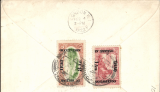"""(Iraq) Early airmail, Baghdad to London via, RAF Baghdad to Croydon, arrival ds 4/2 on front, plain cover addressed to D. Field, Dover St, franked 1918 """"In British Occupation"""" 1an/20p and 8an/2 1/2p, canc Baghdad cds."""