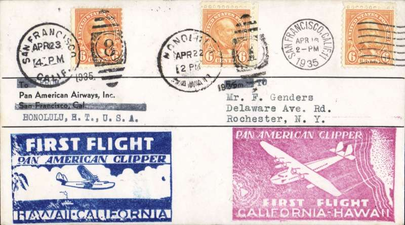 "(United States) Round trip survey flight, Pan Am Sikorsky ""Pan American Clipper"" Survey Flight San Francisco-Hawaii and return, bs Honolulu 17/4, also cancelled Honolulu 22/4 for return to San Francisco, 23/4 arrival ds, large red flight Clifornia-Hawaii and blue Hawaii-California flight cachets. Only a few covers were carried on the round trip."