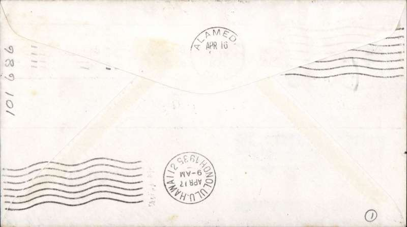 """(United States) Round trip survey flight, Pan Am Sikorsky """"Pan American Clipper"""" Survey Flight San Francisco-Hawaii and return, bs Honolulu 17/4, also cancelled Honolulu 22/4 for return to San Francisco, 23/4 arrival ds, large red flight Clifornia-Hawaii and blue Hawaii-California flight cachets. Only a few covers were carried on the round trip."""