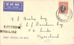 """(Southern Rhodesia) RANA, F/F Salisbury to Limbe, Nyasaland, bs 9/3, via Blantyre 9/3, plain etiquette cover franked 4d, violet straight line """"First Official Air Mail"""" and black two line """"S Rhodesia Nyasaland"""" cachets. Very fine."""