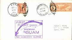 (Hawaii) Honolulu to Guam Island Survey Flight , plain cover Honolulu to Guam, Oct 13, 1935 arrival ds on front, superb strike violet rectangular 'First Flight/Westbound Guam' flight cachet. Scarce item in pristine condition. Selling elsewhere for £200+ retail.