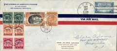 """(Guam) Guam to Manila, carried on the FAM14 first passenger service from USA-Philippines, a Pan Am company cover, 22x10cm, signed by Clara Adams, and franked 25c canc 'Guam oct 27, 1936', also 1P40 Philippine stamps canc Manila Oct 39, 1936 for return postage to US. The """"Hawaii Clipper."""" left San Francisco on October 21, 1936 and flew to Manila, with stops at Hawaii, Midway, Wake, and Guam. 'Signed' by Clara Adams, the well known 'First Flighter' who was a passenger and addressed this cover to herself ,c/o Pan Am, Manila, and posted it when the plane stopped at Guam. A nice piece of  aerophilatelic history."""
