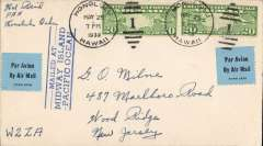 "(Midway Island) Midway Island to New Jersey, USA, no arrival ds, plain cover franked 20c air x2, canc Honolulu May 25, 1939, tying blue black airmail etiquette, large blue circular ""Mailed at Midway Island"" Gooney Bird cachet verso, blue three line  ""Mailed at/ Midway Island/Pacific Ocean"" on front.  Although Pan Am set up a base for its clipper service in 1935 there was no post office on Midway until the outbreak of WWII. Before then all mail was channelled through Honolulu or Guam. A scarce item in fine condition."