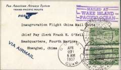 "(Wake Island) First acceptance of mail from Wake Island for China, for carriage on the inaugural Pan Am FAM 14 fight from Guam to Hong Kong. Blue/white printed 'PAA/Trans-Pacific Route' corner cover franked 20c air x2, canc 'Guam Apr 27, 1937' cds and 'Guam to Hong Kong' double globe flight cachet, tying fine strike violet ""Mailed At/Wake Island/Pacific Ocean"" cachet, bs Hong Kong 28/4 and Shanghai 30/4, blue 'Via Airmail' hs.  Although Pan Am set up a base for its clipper service in 1935 there was no post office on Wake Island until the outbreak of WWII. Before then all mail was channelled through Honolulu or Guam. A scarce item in fine condition."