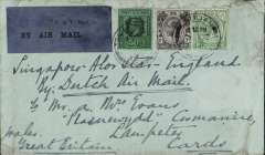 (Malaya Straits Settlements) Labuan (British North Borneo) to London, no arrival ds, carried on the Dutch Singapore-Alor Star-London KLM airmail service, plain cover franked Straits Settlements 50c, 1c and 2c, canc Labuan' cds, black/blue 'P&T Mail  25 airmail etiquette front and verso, ms 'Singapore-Alor Star-England/By Dutch Air Mail'.