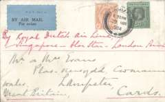 (Malaya Straits Settlements) Labuan (British North Borneo) to London, no arrival ds, carried on the Dutch Singapore-Alor Star-London KLM airmail service, plain cover franked Straits Settlements 50c and 4c, canc Labuan' cds, black/blue 'P&T Mail  25 airmail etiquette front and verso, ms 'By Royal Dutch airline/Singapore-Alor Star-London service'. Note: the Imperial Airways service from Singapore began later.