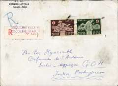 (Belgian Congo) Coquilhatville to Mapuga, Portuguese Goa, bs 28/5, via Cairo Aerodrome 22/5 and Goa 27/5, registered (label) corner cover corner, franked 11F, departure date tamp unclear. Great routing, cover a little grubby.