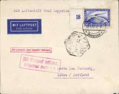 (Airship) First acceptance for Latvia, for carriage on the Graf Zeppelin Spain Flight, Friedrichshafen to Seville 16/4 arrival ds on front, and OAT via Paris Avion 19/4 and Berlin/L2/19.4.30, plain cover franked Zeppelin 2M, red framed 'Mit Luftpost Luftschiff Graf Zeppelin befordert' flight confirmation hand stamp., and red framed 'Mit Luftpost befordert/Luftpostampt Berlin C2' transit hs. Tiny non invasive lower LH corner nibble and some faint perf toning, see scan. Francis Field authentication hs verso.