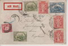 (Iraq) RAF Basrah-Cairo service, underpaid airmail cover, Basrah to Cardiff, UK, red framed imprint airmai etiquette cover, franked 8 1/2 annas  canc Basrah cds, GB 1d postage due canc Gainsborough 25 Dec cds on front,  also black 'T' in circle and '1d I.S.underpaid hand stamps, three small wax seals verso.