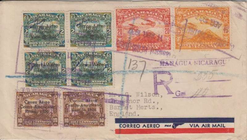 (Nicaragua) Nicaragua to England, bs reg arrival oval ds 29/4, via Brownsville 12/4 and New York 12/4 registered 19/4 hs) cover, attractive franking 35c airs and 49c ordinary, tied large framed 'Correo Aereo/11 Abr 1927/Nicaragua' ds,red/white/blue 'winged' airmail etiquette, largely intact wax seal verso, great routing, air to NY, the sea to England.