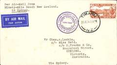 (New Zealand) First Trans Tasman airmail flight, plain cover, franked 7d air,  fine strike circular violet F/F cachet, airmail etiquette, flown 'Faith In Australia by pilot GU Alan.