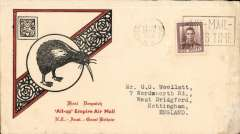 """(New Zealand) NZ acceptance for inauguration EAMS Australia-England, no arrival ds, illustrated black/red """"Kiwi/All Up """"souvenir cover, franked 1 1/2d canc Palmerston Norhth cds, Imperial AW, flown in """"Carpentaria"""" by Capt. Denny Orme."""