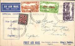 (New Zealand) Interrupted Jubilee Air Mail flight, intended return flight New Zealand-(Australia)-Engand, no arrival ds, printed blue/white souvenir cover, franked 2/1d, canc Auckland cds. Plane failed to reach NZ on outward flight, so all NZ mail went to Australia.