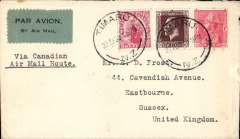 """(New Zealand) Scarce New Zealand to England commercial airmail carried by the Canadian airmail route, plain cover correctly franked 5d (4d air mail fee and 1d surface rate) canc Timaru cds, grey blue/black airmail etiquette, typed """"Via Canadian/ Air Mail Route"""". Mail steamer to Vancouver, Canadian airmail service to Mntreal/Toronto, then surface to England. See Walker, pp 34-36."""