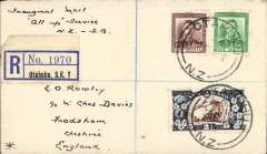 """(New Zealand) Stage 3 Empire Air Mail Scheme, NZ acceptance for first thrice weekly 'All Up' service, Otahuhu to London, bs Warrington 19/8, registered (label) cover franked 5d,  IAW/Qantas, flown in """"Cariolanus"""" by Capt. GU Allan."""