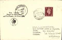"(GB External) F/F second stage of the Empire Airmail Service, first regular All-Air to Ceylon, England-Ceylon, 1/3 arrival ds on front, black/white ""All Up"" souvenir cover with 'Centurion' logo, correctly franked 1 1/2d, printed 'First All Up/Empire Air Mail Scheme/and First Regeular All-Air to Ceylon',"