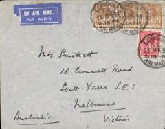 (GB External) Imperial Airways, London to Victoria, bs Melbourne 14/5, carried on the Second Experimental Flight to Australia, plain airmail etiquette cover franked 1/4d, canc London FS Air Mail/23 Apr 31. No cachets were used on this flight with the exception of Singapore. Ironed vertical crease.