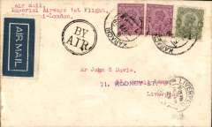 """(India) Imperial Airways, Karachi to London, Liverpool 15/4 arrival ds on front, flown on first return service Karachi to London, plain cover franked 8 annas, black double ring circular """"By Air"""" hs, Imperial Airways."""