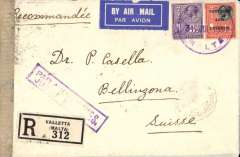 "(Malta) Italian fascist censored airmail from Malta to Switzerland, Valletta to Bellinzona, bs 2/8, via Genova Ferrovia 1/8, Amb Genova-Milano 2/8, and Amb Milano Chiasso 2/8, registered (label) cover franked Malta 3d and 4d Postage and Revenue opt., canc violet Valletta/Malta/31.Jul.34 cds, violet framed ""Par Avion Jusqua Genes"" hand stamp applied in Valletta, and sealed with Italian (Fascist) censor tape. This item is of particular interest on two counts. First as an example of fascist censorship introduced by Mussolini in 1934 to impose strict control of the political, economic and political social life of the Italian people, and a second the ongoing debate concerning the ""Par Avion Genes"" Jusqu'a' mark, see McQueen, pp 17, 21 and 129."