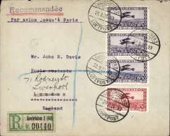 "(Saar) First acceptance of mail to England for carriage on the Farman Airline's first flight from Saar to Paris, registered (label) cover franked 1928 air 50c and 1F (x3), canc Saarbruken/20.9.28/Luftpost cds, typed ""Par avion jusqu'a Paris"", red London hooded 'Registered/Paid/21SP28r Registration arrival ds verso."