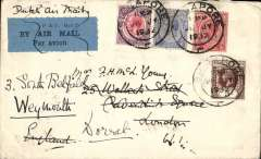 """(Singapore) Dutch airmail, Singapore to England,  bs London Aug 9, 32, via Penang 29 July, plain cover franked 58c, canc Singapore cds, blue/black P&T Mail 25 (KLM) airmail etiquette and ms """"Dutch Air Mail"""" both pen cancelled, most likely in Marseille."""