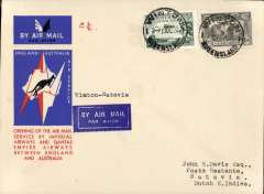 """(Australia) Australia to Netherlands East Indies, Winton to Batavia (Jakarta), bs 14/12, carried on the first regular service, Australia to England, official red/white/blue souvenir """"Kangaroo"""" cover franked 3d and 6d air, Imperial Airways/Qantas."""