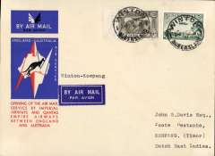 """(Australia) Australia to Netherlands East Indies, Winton to Koepang (Timor), bs 13/12, carried on the first regular service, Australia to England, official red/white/blue souvenir """"Kangaroo"""" cover franked 3d and 6d air, Imperial Airways/Qantas."""