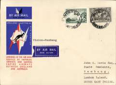 """(Australia) Australia to Netherlands East Indies, Winton to Rambang (Lombok Island), bs 13/12, carried on the first regular service, Australia to England, official red/white/blue souvenir """"Kangaroo"""" cover franked 3d and 6d air, Imperial Airways/Qantas."""