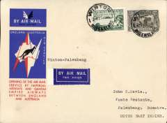 """(Australia) Australia to Netherlands East Indies, Winton to Palembang (Sumatra), bs 15/12, via Batavia 14/12, carried on the first regular service, Australia to England, official red/white/blue souvenir """"Kangaroo"""" cover franked 3d and 6d air, Imperial Airways/Qantas."""