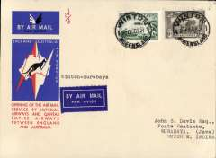 """(Australia) Australia to Netherlands East Indies, Winton to Surabaya (Java), bs 14/12, carried on the first regular service, Australia to England, official red/white/blue souvenir """"Kangaroo"""" cover franked 3d and 6d air, Imperial Airways/Qantas."""