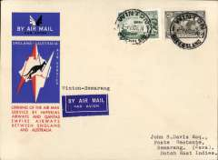 "(Australia) Australia to Netherlands East Indies, Winton to Semarang (Java), bs 14/12. via Soerbaja 14/12, carried on the first regular service, Australia to England, official red/white/blue souvenir ""Kangaroo"" cover franked 3d and 6d air, Imperial Airways/Qantas."