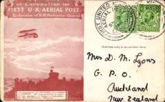 (GB Internal) London to Windsor First Aerial Post, red-brown postcard to New Zealand franked Edward VII ½d (pre-usage fault) and KGV ½d tied by Die 3 handstamps, on reverse Auckland Delivery arrival cds of October 22, a few corner scuffs as to be expected otherwise fine and a rare destination.