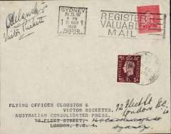 (Australia) Return leg of record DH88 Comet Australia-New Zealand-Australia-England flight by Clouston and Ricketts in a DH88 Comet, envelope franked 2d tied by Sydney slogan cancellation, Great Britain 1½d applied on arrival and tied by London cds of March 27, signed by both pilots, fine and scarce as only twelve signed (Aust.AMC 800). Also unused B&W PPC of Clouston and Ricketts in the cockpit of DH.88 Comet,  with facsimile signatures of both pilots