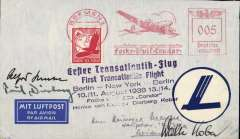 "(Germany) The first successful Trans-Atlantic round trip between Berlin and New York by Focke-Wulf 'Brandenburg', Berlin-New York-Berlin, cover postmarked red Bremen 10/8/38 005pf machine cancel at the Focke-Wulf factory,  fine strike black six line ""Erster Transatlantik-Flug/First Trans-Atlantic Flight/Berlin-New York-Berlin/10.11 August 1938 13.14/Focke Wulf 200 'Condor'/Henke von Moreau Dierburg Kober"", circular dark blue/white 'Condor in Flight' vignette. Signed Alfred Henke, Paul Dierberg, and Walter Kober. A rare item in fine condition"