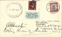 "(South Africa) Clouston & Kirby Green record flight Cape Town - London, cover franked South Africa 1d canc Cape Town 16 Nov 37 cds, also GB 1 1/2d's on front and verso canc London and Newport  confirming return to GB, and a large rubber ""Cape Town Municipal Air-Port/ Wingfield/ 16 Nov 1937"" cds and blue/black ""Cape Town - London Record Flight by F/O AE Clouston and Mrs Kirby Green November, 1937"" labels on front and back. Signed A.E. Clouston and Betty Kirby Green. Scarce, VF."
