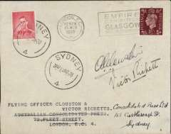 (GB External) Clouston and Ricketts record DH88 Comet flight, London to Australia, Sydney 19 MR 38 arrival ds on  front, plain cover franked 1 1/2d canc London EC cds, also Australia 2d canc Sydney 19/3 to confirm date of arrival. Signed 'A E Clouston' and 'Victor Ricketts'. Fine and scarce as only twelve envelopes were signed .