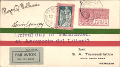 """(United States) Ocean Flight from United States to Spain by Williams and Yancey, envelope flown on the Rome to Venezia stage franked 25c and Air 50c tied by cds's of July 10, violet """"Arrival-day of 'Pathfinder'/at Aeroporto del Littorio"""" cachet and signed 'Roger Q Williams' and 'Lewis Yancey', on reverse Venezia arrival datestamp of July 12, fine."""