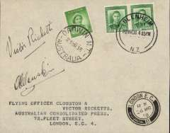 (New Zealand) Blenheim to London Return Flight by Clouston and Ricketts in the DH-88 Comet 'Australian Anniversary', envelope franked ½d (horizontal pair) tied by cds, Australia 1d alongside tied by Darwin cds of March 23 and signed 'A E Clouston' and 'Victor Ricketts', below London arrival datestamp of March 26. Fine and scarce as only twelve signed covers carried (NZAMC 183d, Aust.AMC 801b)