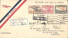 """(India) Interrupted Bangkok-Delhi Goodwill Flight by three Siamese Army aircraft, franked 1925 air 10s,15s and 50s, canc special boxed """"Goodwil/Flight/Bangkok-Delhi/Dec 22, 1929"""" depart cachet, registered (label) air cover, typed """"By First Air Mail to India"""". The leading plane crashed early in the flight. All the mail was rescued and returned to Bangkok and forwarded to Calcutta, bs 15/1, by surface mail. This cover is one of only 9 signed by the pilot Capt Chang Nitinandana in consideration of a donation to the memorial fund for his co-pilot who was killed in the crash. Ni 291222. A nice item in fine condition."""