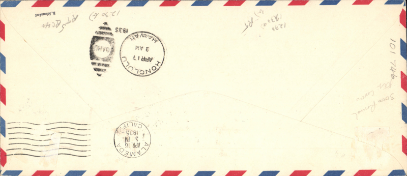 (United States) Pacific Survey Flight from San Francisco to Hawaii and Return by Pan Am, long 6c postal stationery envelope with machine cancellation, on reverse arrival datestamp of April 17, 6c affixed and tied by Honolulu cancellation of April 22 and a further 6c added upon arrival and tied by San Francisco cancellation of April 23, both outward (red) and return (blue) cachets below and signed by the pilot 'Edwin Musick', fine and scarce as only a few carried on the round trip (AAMC 1230).