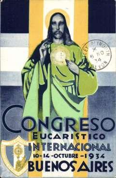 (Argentina) Air France, rare 1934 reduced rate green/blue/yellow PPC commemorating the 23rd International Eucharist Congress in Buenos Aires, flown Argentina to England, franked 35c, canc Buenos Aires 25/10/34 cds, Plymouth/Devon 6/11 arrival cds on front.  CPPA #23 (RR).
