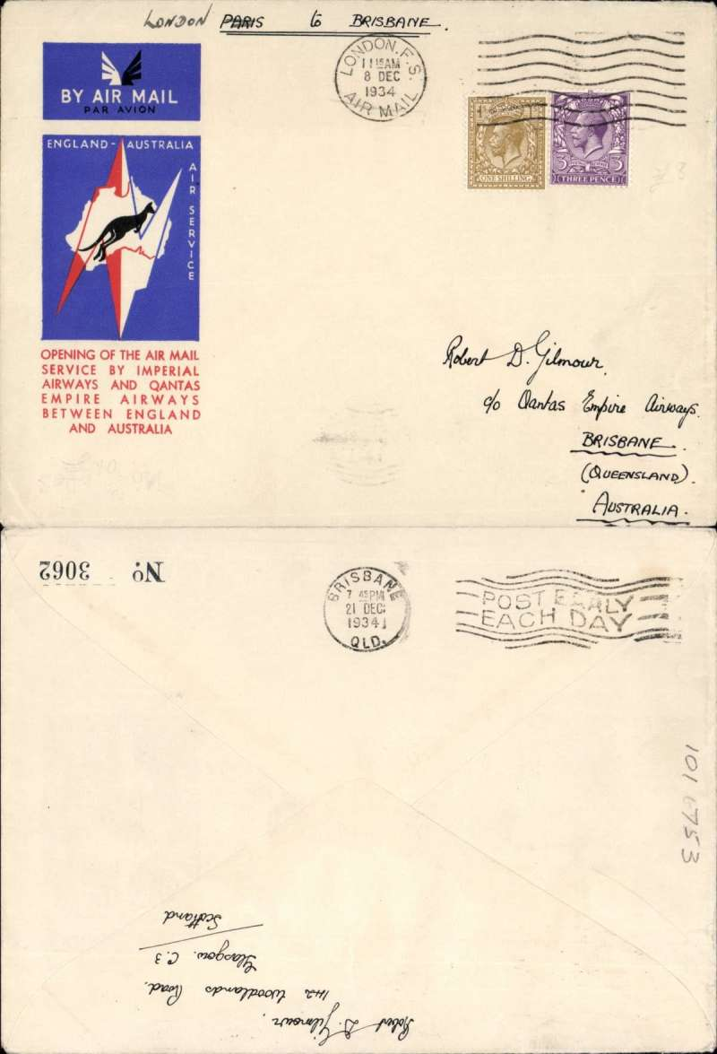 (GB External) F/F London to Brisbane, bs 21/12, carried on the extension of London-Singapore service to Australia, rated 1/3d, red/white/blue official Imperial Airways/Qantas cover.