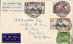 "(Australia) F/F Sydney to Cape Town, bs 29/12, via Cairo, bs 23/12, flown on the Australia-England service to Cairo, then transferred to flight AS 199 on the first Imperial Airways England-Africa service to carry mail from Cairo to Cape Town. A dual franked cover bearing 1/7d Australia stamps and Egypt 6m stamps, all canc 'Air Mail/Sydney/6 DE 34'. cds, ms ""Per Aerial Mail/ Sydney to Cairo/Cairo to Cape Town"". See Wingent 'Moement of Aircraft on Imperial Airways African Rote 1931-1939 p165. A great item in fine condition."