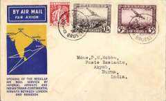 """(Belgium) First Belgium acceptance for Imperial Airways extension to Rangoon, Brussels to Akyab 1/10, franked 6F 75c canc Brussels cds, via Paris 23/9, official blue/yellow """"map"""" cover, Imperial Airways/ITCA."""
