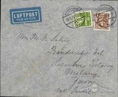 (Denmark) Copenhagen to Malang, Java, NEI, via Munich 20/10 and Soember 4/11, Denmark acceptance for carriage on the KKM Amsterdam to Batavia service, airmail etiquete cover franked 1K5o, canc Copenhagen cds. Great routing.