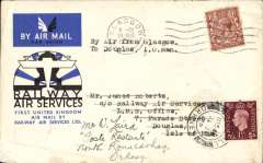 (GB Internal) RAS/Scottish Airways, an unusual double first flight cover flown F/F RAS Glasgow-Manchester 20 Aug 1934, then Scottish Airways first Kirkwall 31 July 1939 to North Ronaldsway 31 July 1939, official RAS souvenir cover franked 1 1/2d from Glasgow, and 1 1/2d again from Kirkwall.