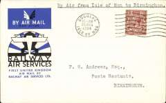 """(GB Internal) Railway Air Service, a rare first flight, Douglas to Birmingham via Manchester, bs Birmingham 21 Aug 34, flown to Manchester on the first day of the service, then by rail to Birmingham, an official cover franked KGV 1 1/2d and postmarked 'Douglas Isle of Man/ 10am/20 Aug 1934', typed """"By Air from Isle of Man to Birmingham"""". According to Redgrove, p61, flown Douglas-Manchester covers are very rare due to an error made by RAS officials at Douglas, who posted the bulk of the souvenir mail after the plane had left for Manchester. These bear a 4pm postmark. Only a handful were posted in time for the flight - these are postmarked 10am. Only 10 such are known and even fewer have back stamps."""