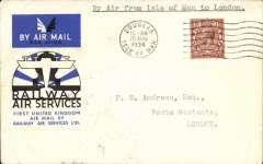 """(GB Internal) Railway Air Service, a scarce first flight, Douglas to London, bs 21 Aug Aug 34, via Manchester, flown to Manchester on the first day of the service, then by rail to London, an official cover franked KGV 1 1/2d and postmarked 'Douglas Isle of Man/ 10am/20 Aug 1934', typed """"By Air from Isle of Man to London"""". According to Redgrove, p61, flown Douglas-Manchester covers are rare due to an error made by RAS officials at Douglas, who posted the bulk of the souvenir mail after the plane had left for Manchester. These bear a 4pm postmark. Only a handful were posted in time for the flight - these are postmarked 10am."""