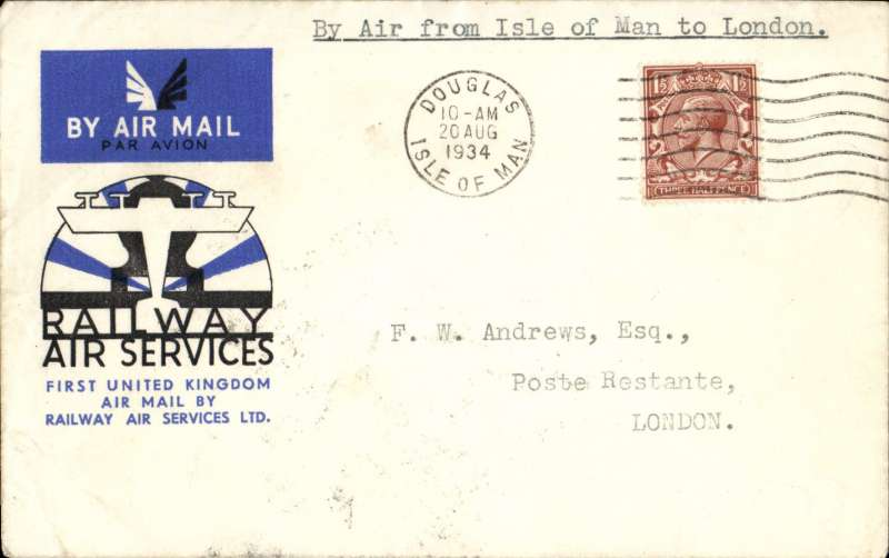 "(GB Internal) Railway Air Service, a scarce first flight, Douglas to London, bs 21 Aug Aug 34, via Manchester, flown to Manchester on the first day of the service, then by rail to London, an official cover franked KGV 1 1/2d and postmarked 'Douglas Isle of Man/ 10am/20 Aug 1934', typed ""By Air from Isle of Man to London"". According to Redgrove, p61, flown Douglas-Manchester covers are rare due to an error made by RAS officials at Douglas, who posted the bulk of the souvenir mail after the plane had left for Manchester. These bear a 4pm postmark. Only a handful were posted in time for the flight - these are postmarked 10am."