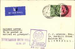 """(GB Internal) Railway Air Letter flown from Birmingham to Liverpool, POA 24 Sep 34,  airmail etiquette cover franked 1/2d + FDI 1d photogravure, fine strike special square violet 'RAS/3d Paid' and 'Birmingham Snow Hill/GW 31' hs's, typed """"Railway Letter/To be posted on arrival at Liverpool"""". A nice example of first class mail accepted with an additional 3d air surcharge for carriage by air, and onwards from destination airport by normal GPO service thereafter. The earliest known date is Sep 23."""